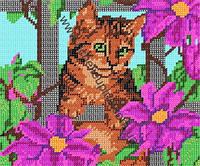 Схема для вышивки бисером - «Котенок в саду»