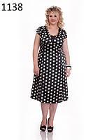 ODDI 1138 : Атласное, черно-белое платье, в круглый горох (52-56 размеры)