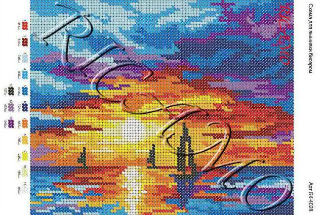 Схема вышивок с закатом