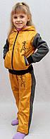 Теплый детский спортивный костюм желтый, фото 1
