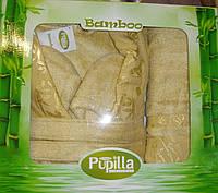 Халат бамбуковый Турция в наборе с бамбуковыми полотенцами. PUPILLA, Турция