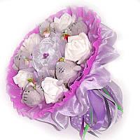 Букет из мягких игрушек Мишки Тэдди с розами в фиолетовом
