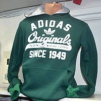 Теплая мужская толстовка Adidas зеленого цвета