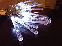 Новогодняя гирлянда в форме ледяных сосулек, 20 лампочек, белый свет, статический режим освещения, 220в