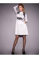 ODDI 8041 :Белое трикотажное платье приталенного силуэта украшенное черным кружевом (42-50 размеры)