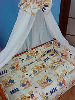 Комплект детской постели ТМ «ASIK» ( 8 ед. ) №141 «Мишки на прогулке»