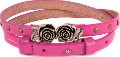 Женский яркий узкий кожаный ремень ETERNO (ЭТЭРНО) E7040-pink