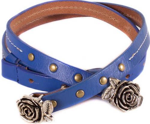 Женский оригинальный узкий кожаный ремень ETERNO (ЭТЭРНО) E7040-blue
