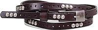 Женский оригинальный узкий кожаный ремень ETERNO (ЭТЕРНО) E7093-dark-brown