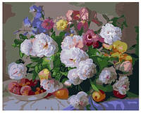 "Картина по номерам ""Цветы и персики"" 40х50 см. Идейка. КН281"
