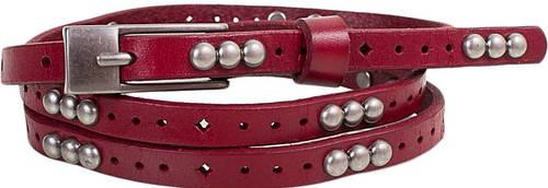 Прочный женский узкий кожаный ремень ETERNO (ЭТЕРНО) E7093-red