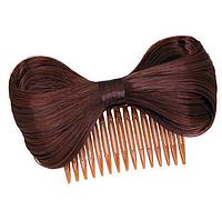 Заколка Бантик из волос на гребне, аксессуар для волос, цвет - красное вино