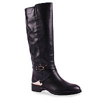 Модные женские сапоги Viko (кожаные, зимние, черные, теплые, удобная подошва, модная пряжка, на замке)