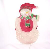 Новогоднее панно с подсветкой «снеговик», 30 лампочек, включается в электросеть, для праздничного интерьера