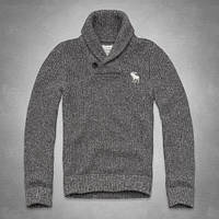 Серый вязаный свитер Abercrombie&Fitch