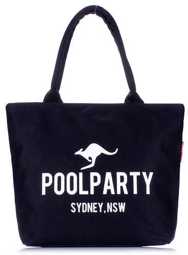 Женская повседневная коттоновая сумка POOLPARTY CLASSIC COTTON TOTE Арт. pool-9-black черная