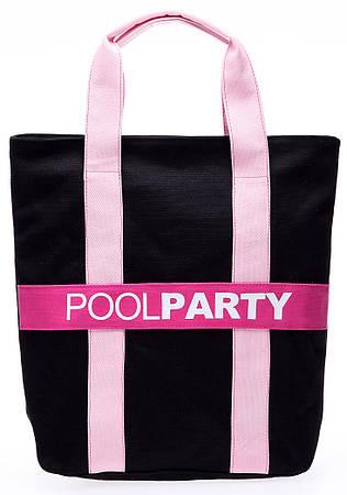 Женская повседневная коттоновая сумка POOLPARTY Арт. pool82-black-pink черный/розовый