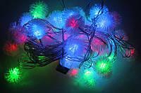 Электро-гирлянда «снежинки», 50 светодиодов rgb, разноцветная, длина 8 метров, коннектор, прозрачный провод