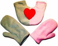 Варежки для влюбленных Серые + Розовые с сердцем флисовые