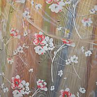 Ткань для тюля, гардины, органза цветок бело-красный