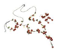 Набор украшений Красная смородина: ожерелье, серьги и браслет