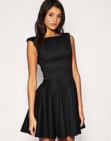 Короткое платье без рукавов и юбка солнце- клеш