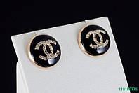 Трендовые черные серьги Chanel с кристаллами