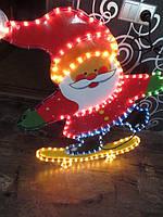 Забавное светящееся панно гирлянда «дед мороз на скейте», новогоднее праздничное освещение, 85*70 см