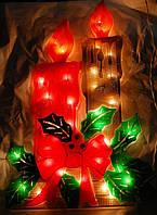 Новогоднее панно с подсветкой «свечи», на окно / витрину / стену, питание от электросети, лампы накаливания
