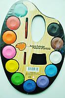Краски для рисования, 12 цветов + кисточка