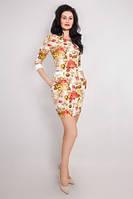 Приталенное молодежное платье в цветы, фото 1