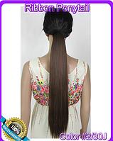 Шиньон хвост на ленте, прямые волосы, наращивание волос, длина - 55 см, вес - 90 г, цвет - №2\30J