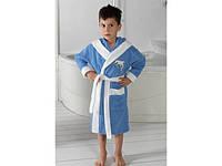 Халат махровый для мальчика Philippus голубой с белым