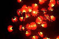 Гирлянда с цветочками, новогодняя, 5 режимов (световых эффектов), питание от сети 220-240в, длина 4 метра