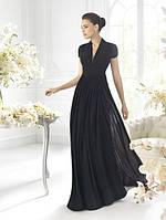 Длинное оригинальное платье в пол с драпировкой на лифе