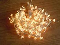 Гирлянды новогодние «цветы», теплый белый свет, 140 лампочек, длина изделия 7 метров, световые эффекты, 220в