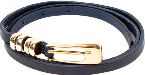 Модный женский кожаный узкий ремень ETERNO (ЭТЕРНО) A2002-10-navy