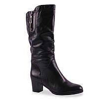 Модные кожаные сапоги Geronea (зимние, на удобном каблуке, замок, теплые, черные)