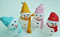 Новогодние игрушки, снеговики светящиеся, 7х14см