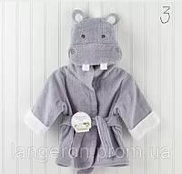 Банный короткий халат детский с капюшоном-зверюшка полотенце бегемот