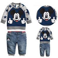 """Кофта и джинсовые бриджи на мальчика """"Микки Маус"""""""