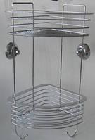Вместительная двойная полочка с крючками на вакуумных присосках