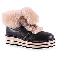 Женские ботинки Lifexpert(зимние, на танкетке, удобная подошва, на меху, теплые, на шнуровке, с отворотом)