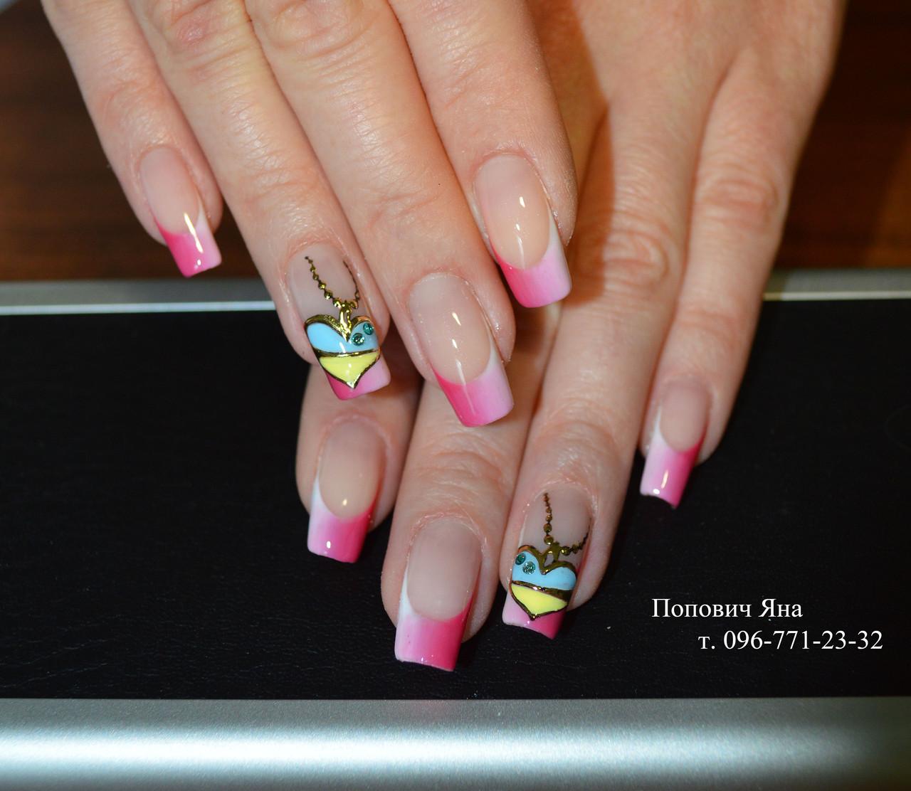 Многоцветный френч на ногтях фото