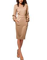 Бежевое платье с рукавами - фонариками, с длинным поясом