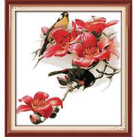 """Вышивка крестиком """"Птицы и цветы"""" 55*59  см."""
