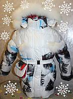 Теплое зимние пальто на девочку +сумочка 34 р.