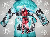 Теплое зимние пальто на девочку +сумочка 38 р.