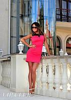 Женское Платье ярко малинового цвета с сеткой