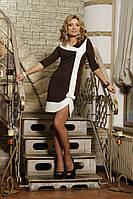 ODDI 9924 : Кокетливое коричневое платье с широким белым кантом  (42-46 размеры)